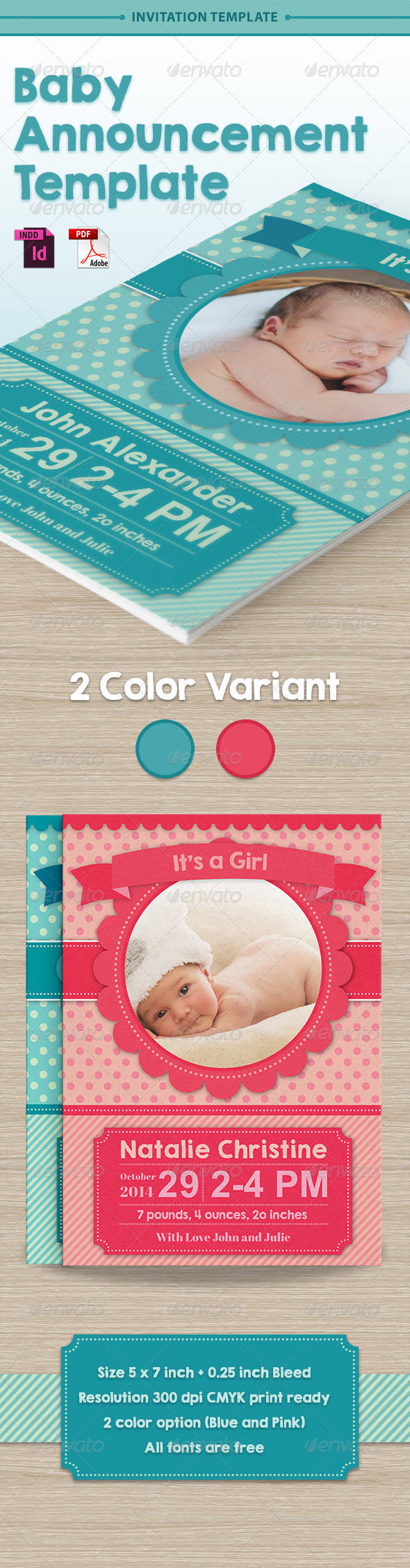 GraphicRiver Baby Announcement Template Vol.1 7603311