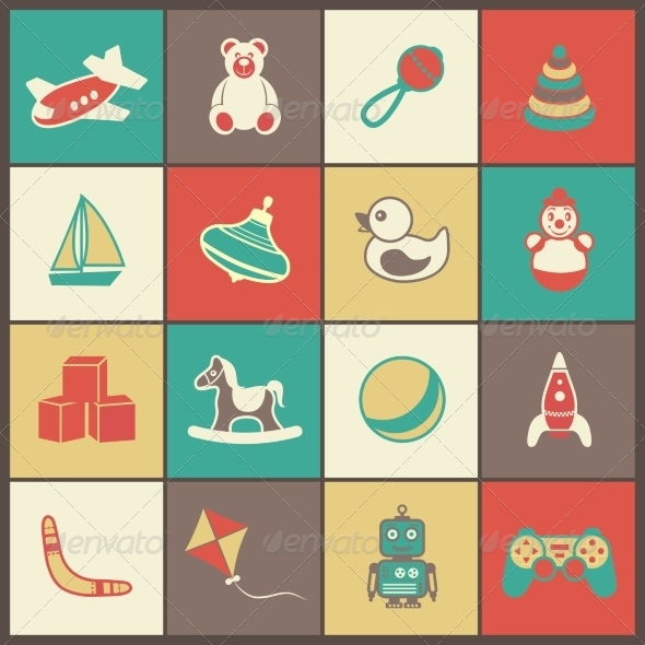 GraphicRiver Toys Flat Icons Set 7668246