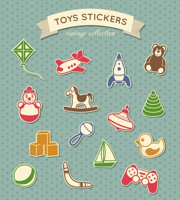 GraphicRiver Toys Stickers Vintage Collection 7668298