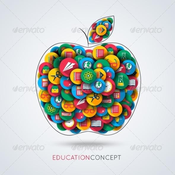GraphicRiver Education Icon Apple Composition 7668303