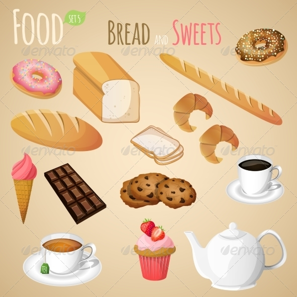 GraphicRiver Bread and Sweets Set 7668337