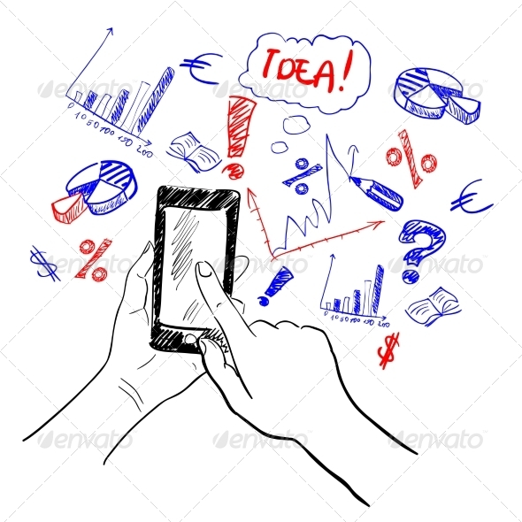 GraphicRiver Hands Touchscreen Business Sketch 7668350