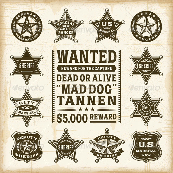 GraphicRiver Vintage Sheriff Marshal and Ranger Badges Set 7668451