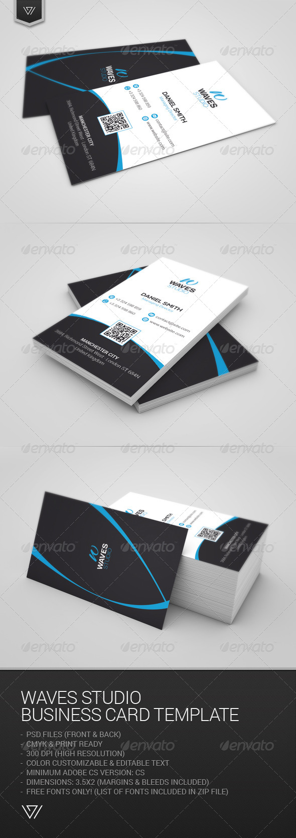 GraphicRiver Waves Studio Business Card 7668535