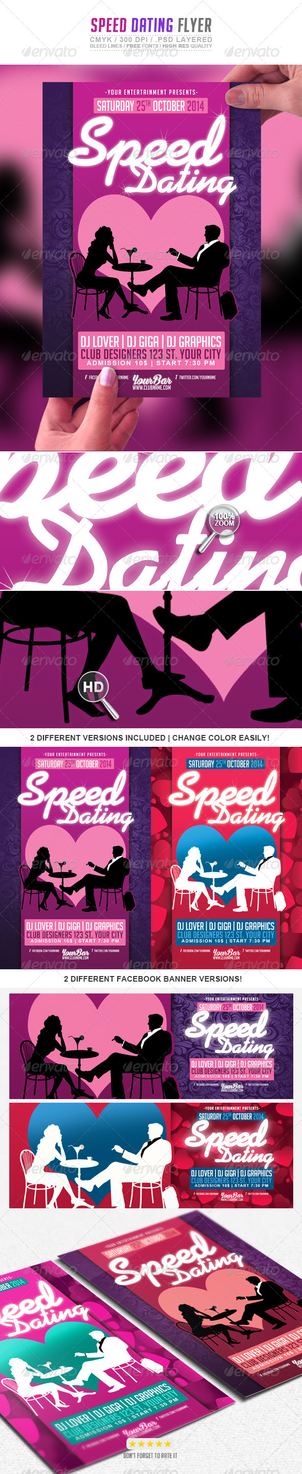 speed dating flyer templates Flyer templates (2 template designs) speed dating theme ideas (ebook) top 50 ice breaker questions to share with your speed daters consultation your kit includes a 15 minute phone consultation use this time to speak with our speed dating event experts about hosting your singles event and tips for success email support for using the kit.