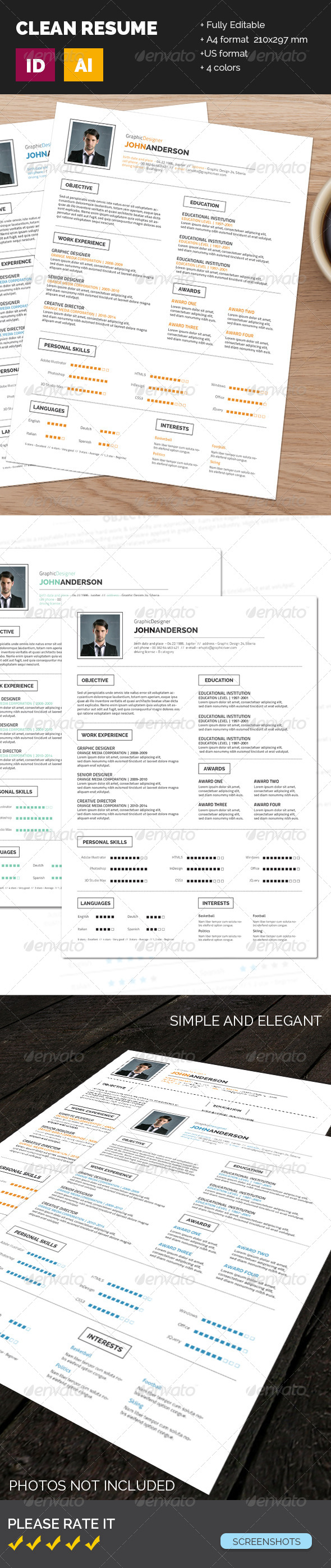 GraphicRiver Clean Resume 7668796