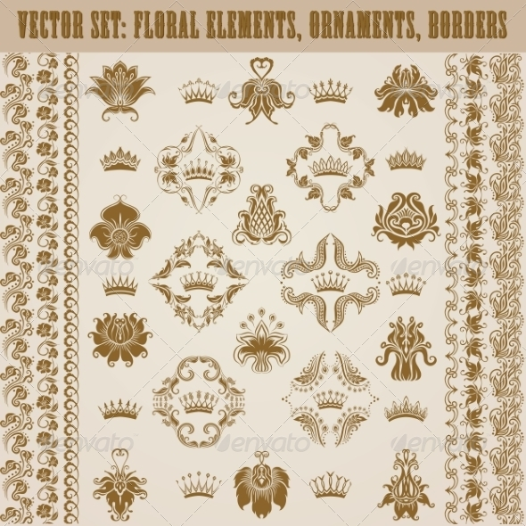 GraphicRiver Set of Damask Ornaments 7668939