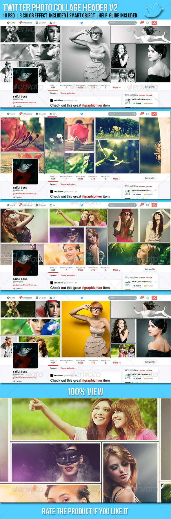 GraphicRiver Twitter Photo Collage Header V2 7669316