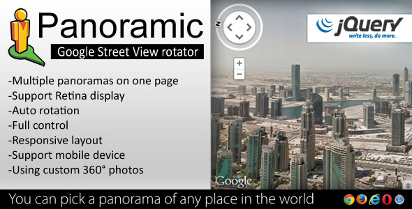 Panoramic Street View Rotator jQuery Plugin