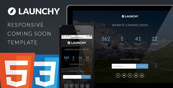 Launchy - Responsive Coming Soon Template - Under Construction Specialty Pages