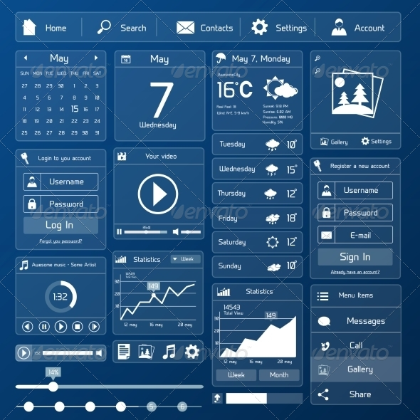 GraphicRiver Flat User Interface Template 7670962