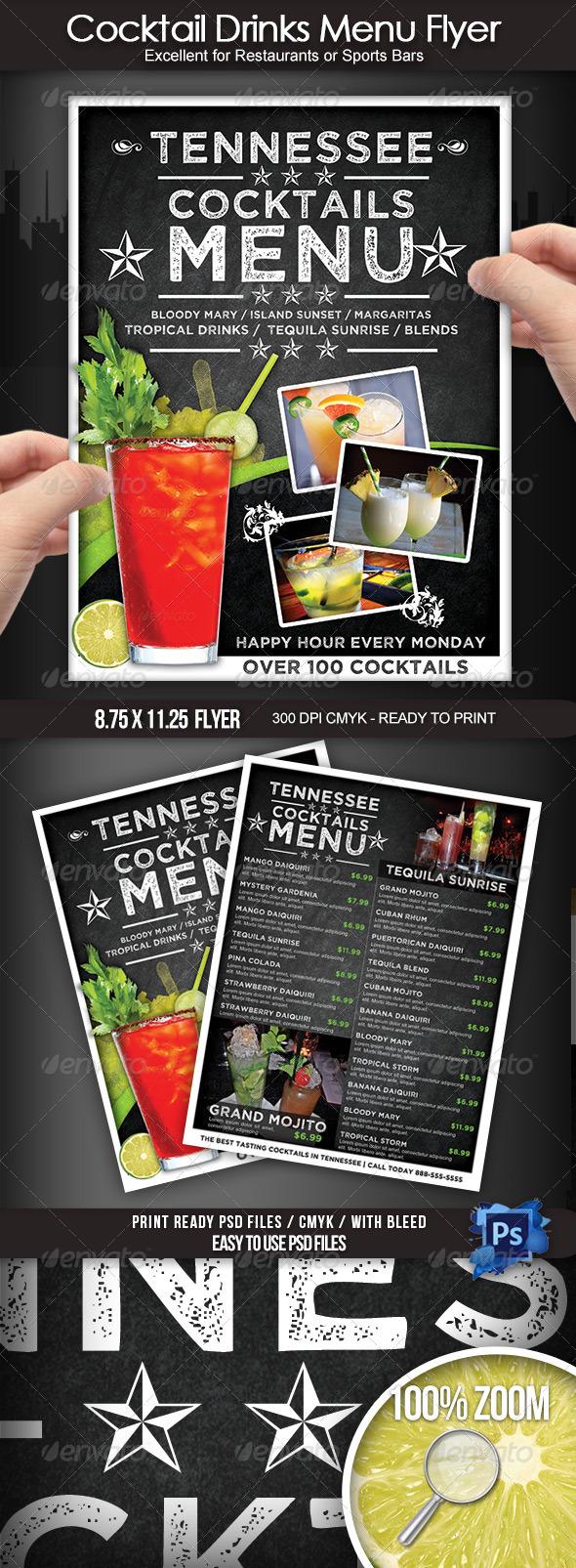 GraphicRiver Cocktail Drinks Menu Flyer 7671184