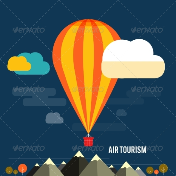 GraphicRiver Hot Air Balloon Flying Over the Mountain 7671273