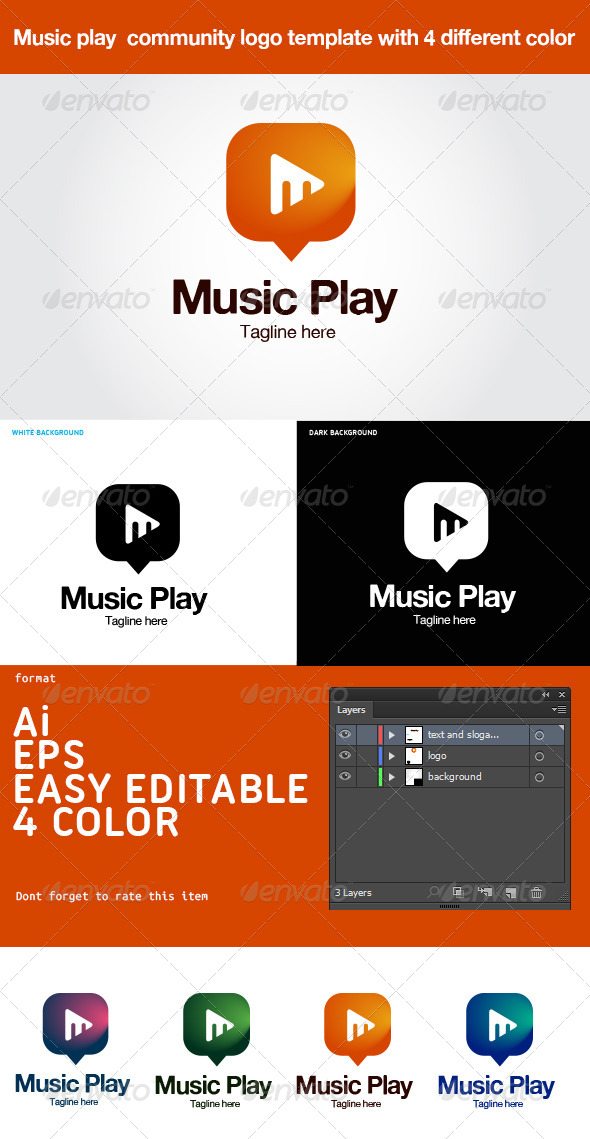 GraphicRiver Music Play Community Logo 6412199