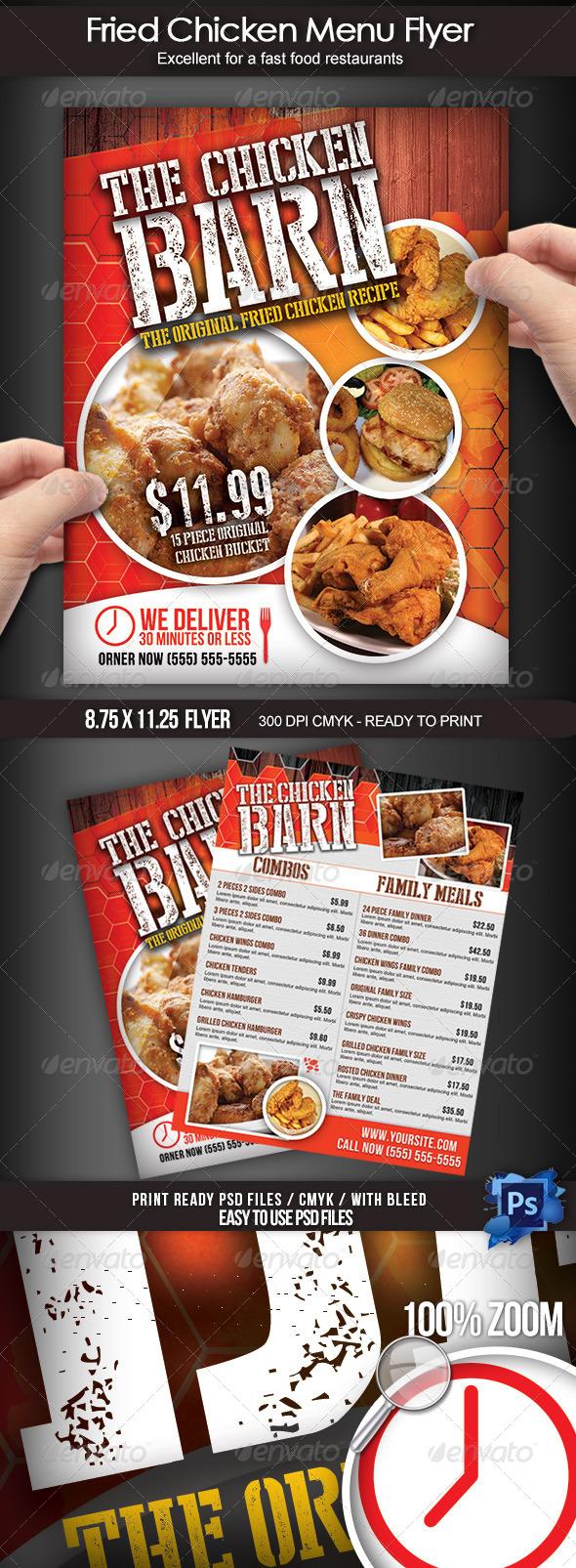 GraphicRiver Fried Chicken Menu Flyer 7671457