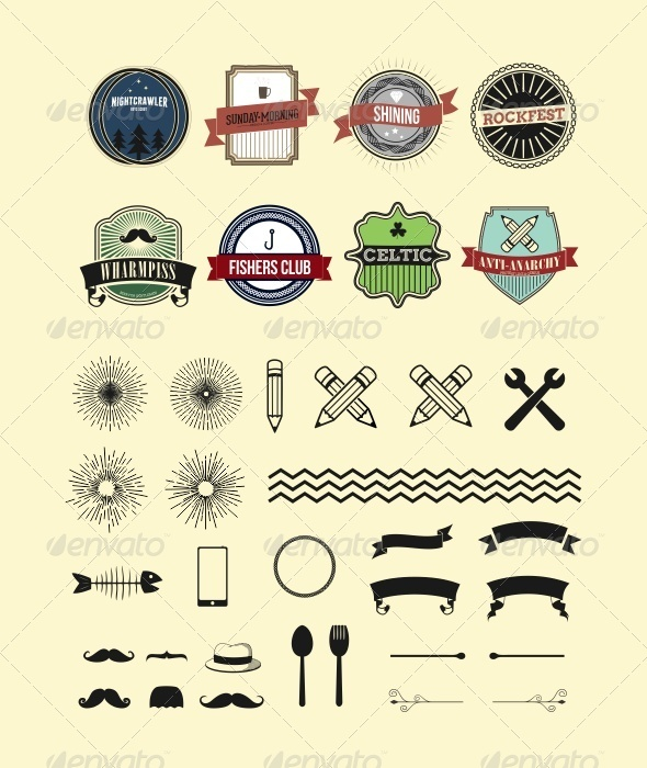 GraphicRiver Classic Badges and Elements 7671656