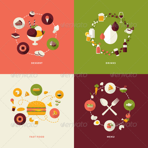 GraphicRiver Flat Design Concept Icons for Restaurant 7671712