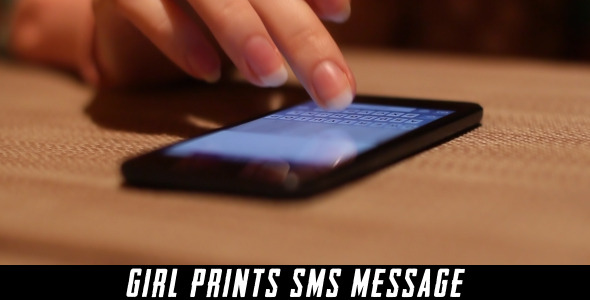 Girl Prints Sms Message