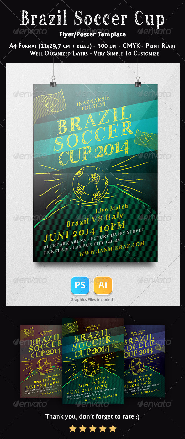 GraphicRiver Brazil Soccer Cup Flyer Templates 7640230