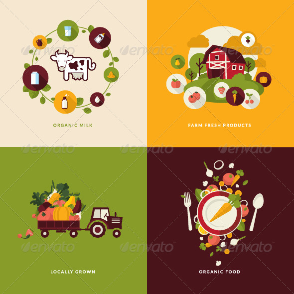 GraphicRiver Flat Design Concept Icons for Organic Products 7671937