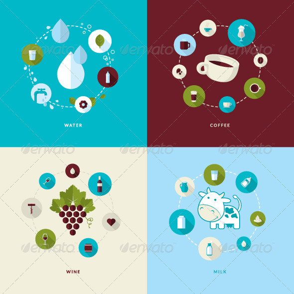 GraphicRiver Flat Design Concept Icons for Drink 7671966