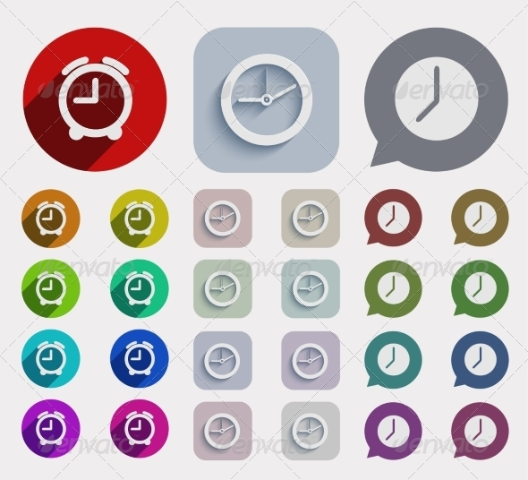 GraphicRiver Modern Flat Time Icons Set 7672342