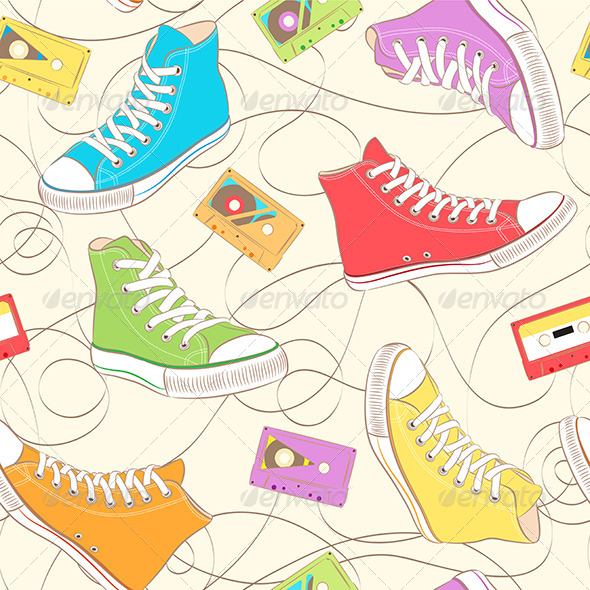 GraphicRiver Sneakers and Music Cassettes 7657475