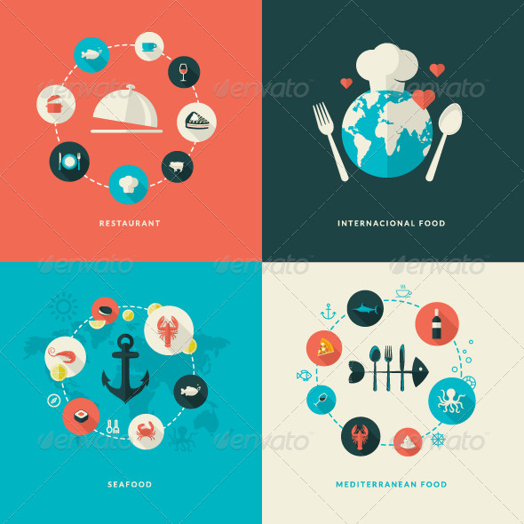 GraphicRiver Flat Design Concept Icons for Restaurant 7673098