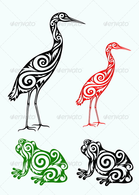 GraphicRiver White Egret and Frog 7673186