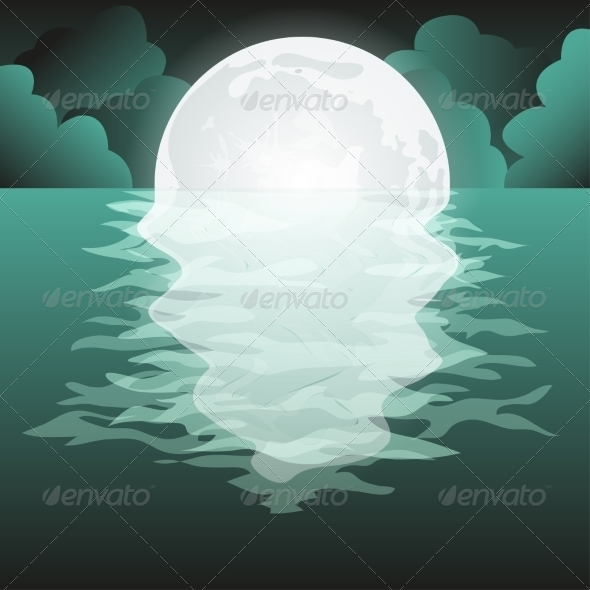 GraphicRiver Full Moon Reflected in the Sea 7673233