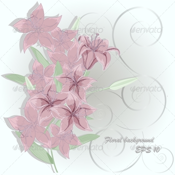 GraphicRiver Abstract Floral Background with Lily 7673245