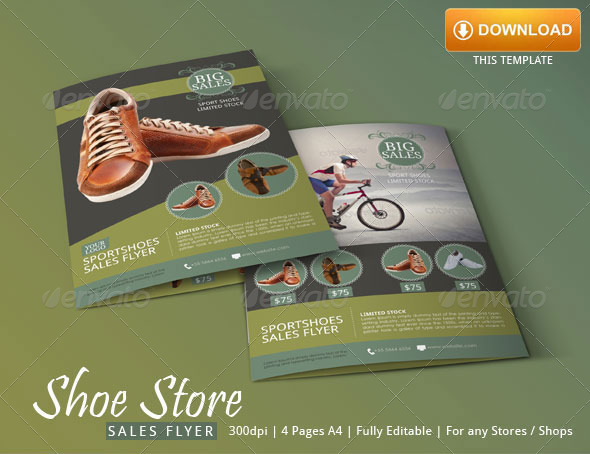 sport shoes flyer template by blogankids
