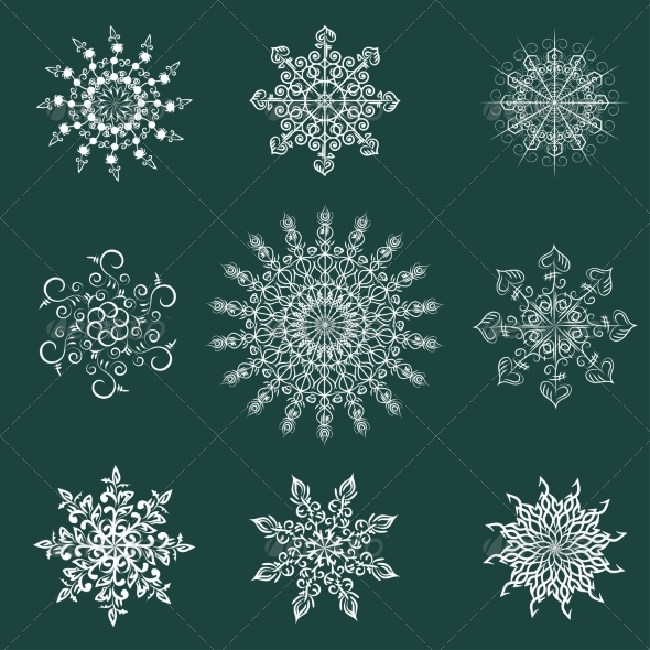 GraphicRiver Set of Abstract Snowflakes 7673367