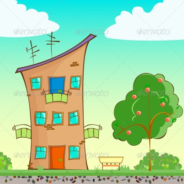 GraphicRiver Cartoon House on the Street 7673416