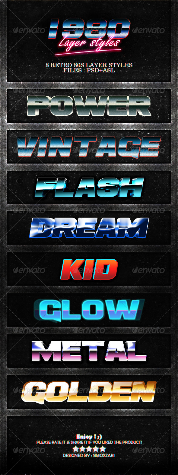 GraphicRiver 1980 Layer styles 7673428
