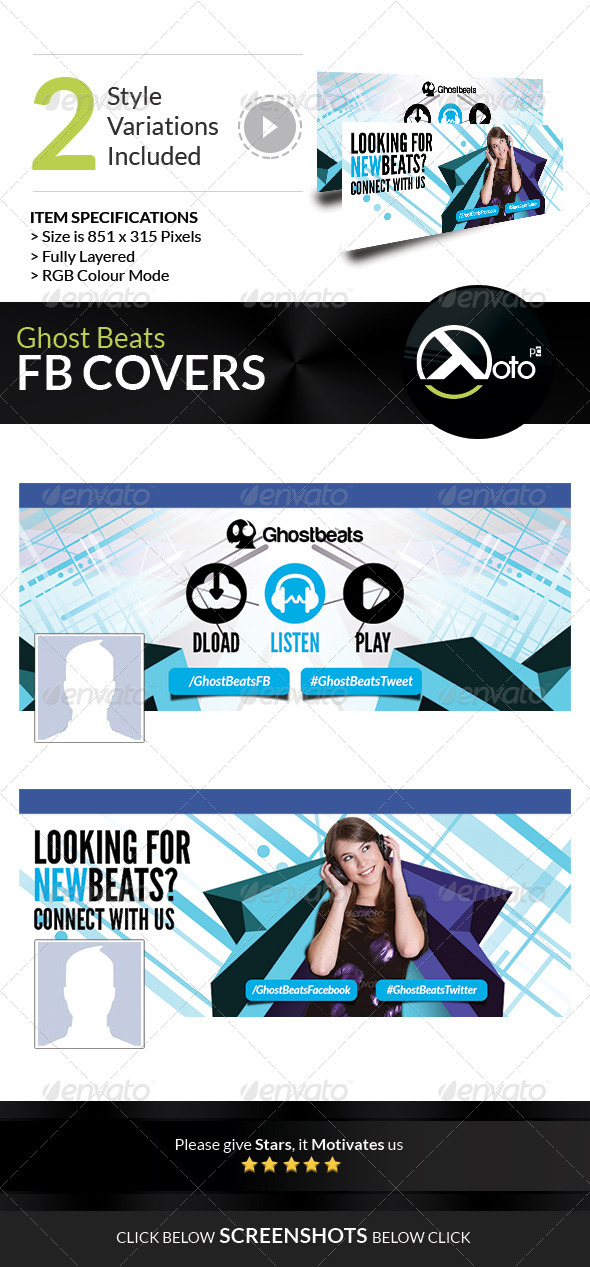 GraphicRiver Ghost Beats Music Downloads FB Timeline Cover 7673573