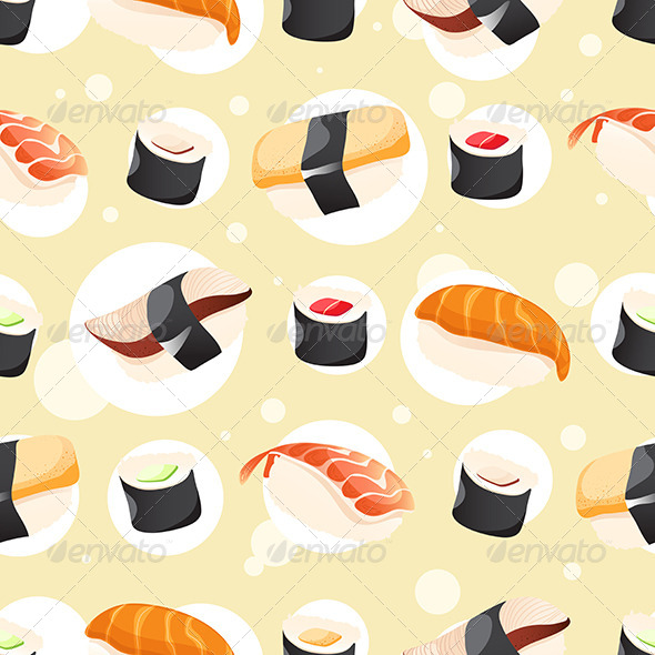 GraphicRiver Seamless Different Sushi 7673857
