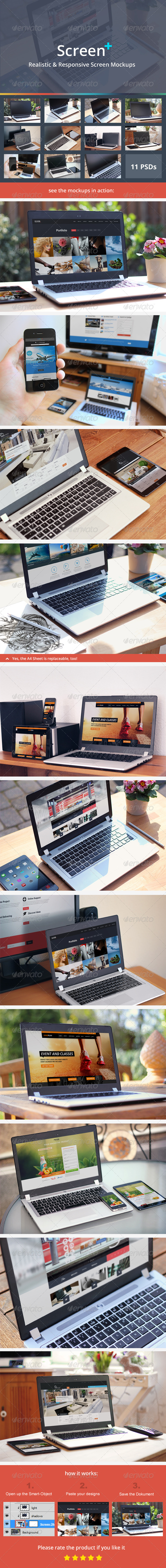 GraphicRiver ScreenPlus Realistic & Responsive Screen Mockups 7673872