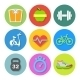 Set of Flat Fitness Icons - GraphicRiver Item for Sale