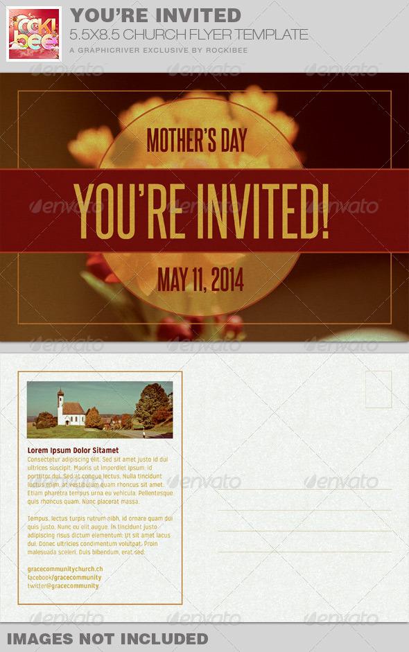 you 39 re invited church flyer invite template graphicriver