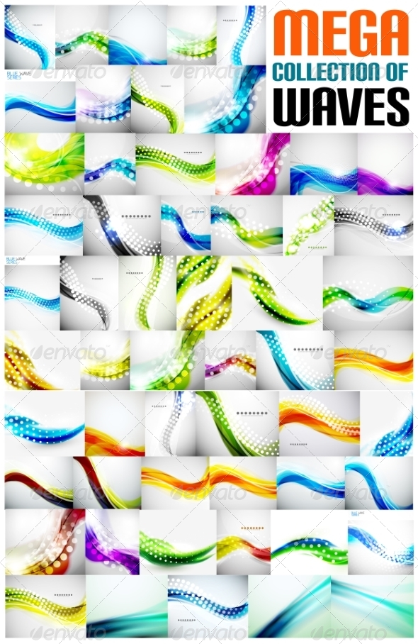 GraphicRiver Collection of Wave Abstract Backgrounds 7675152