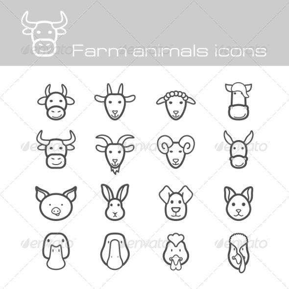 GraphicRiver Farm Animals Icons 7675406