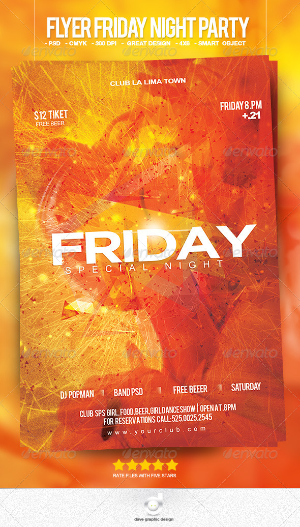 GraphicRiver Flyer Friday Night Party 7662855