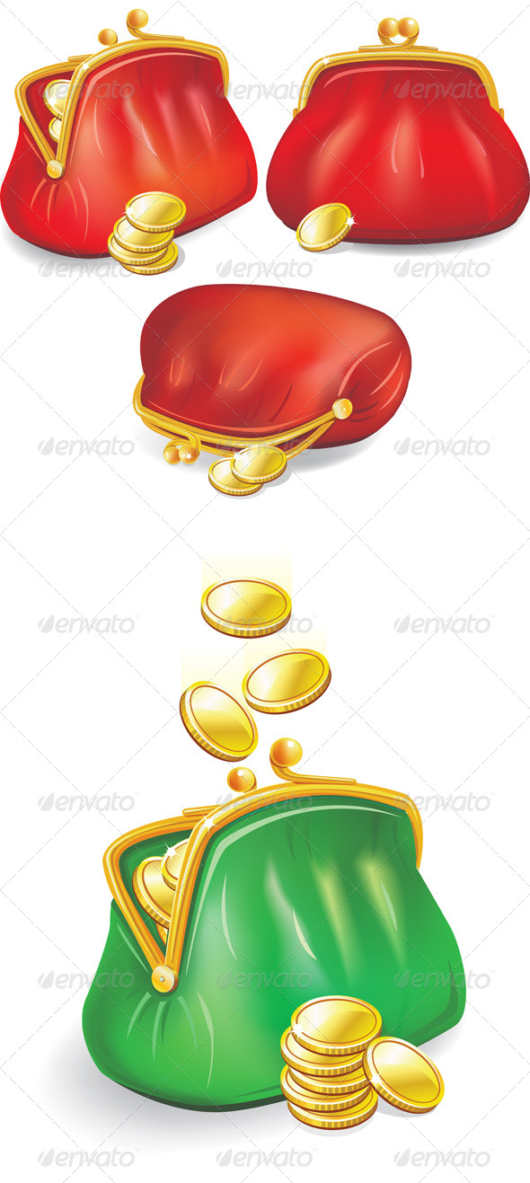GraphicRiver Set of Purses with Gold Coins 7675475