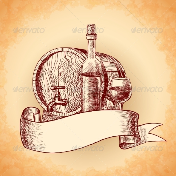 Wine Hand Drawn Background