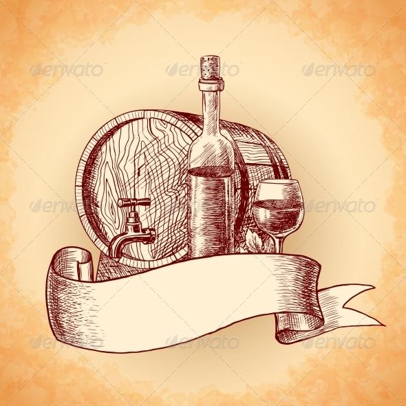 GraphicRiver Wine Hand Drawn Background 7675487