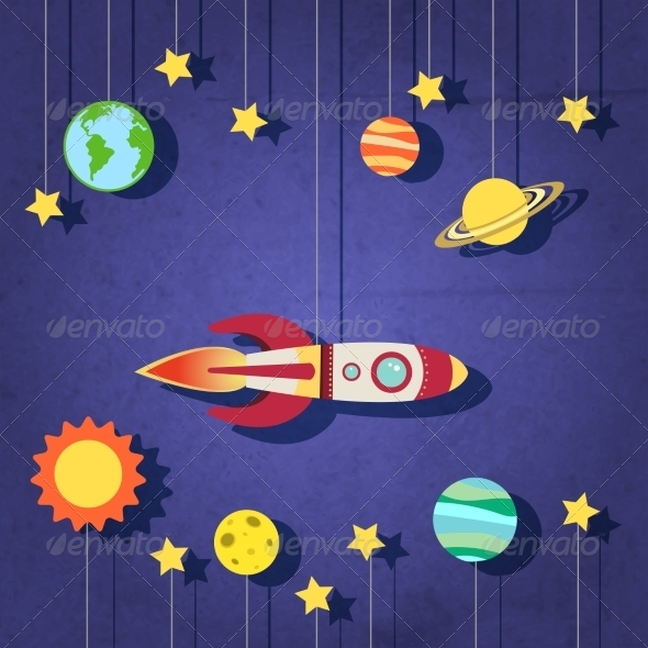 GraphicRiver Paper Rocket in Space 7675490