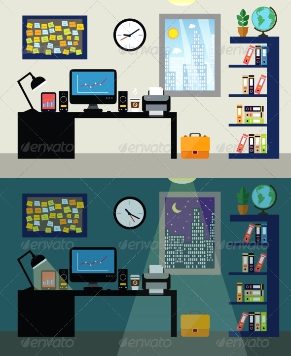 GraphicRiver Office Day and Night 7675496