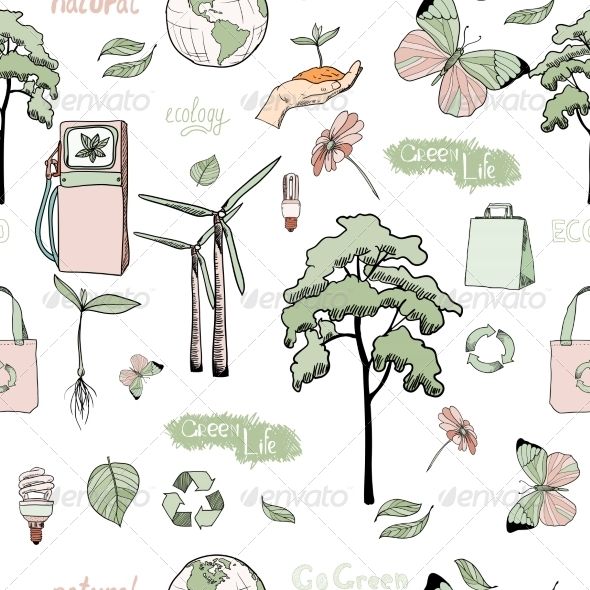 GraphicRiver Doodles Ecology and Energy Seamless Pattern 7675510