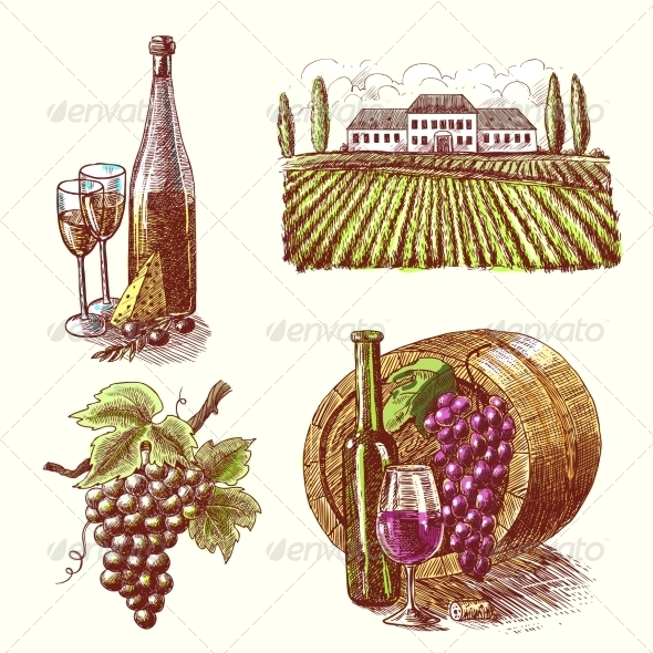 GraphicRiver Wine Sketch Decorative Set 7675549